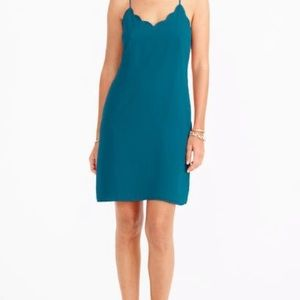 J Crew Scalloped Tank Teal Blue Dress Sz 8